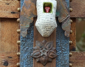 "Assemblage Art Found Object Shrine ""Soaring with Courage"""