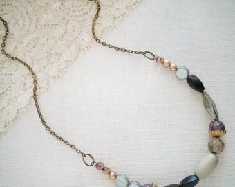 Long Curve Bar Necklace Multicolored Glass Beaded ~ In the Morning.
