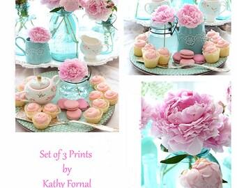 Peony Prints, Aqua Pink Kitchen Art Prints, Macarons Cupcake Prints, Peonies Mason Jars Prints, Peony Wall Art Prints, Peony Wall Art Prints
