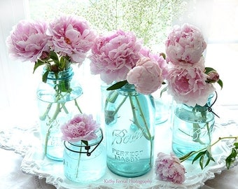 Pink Peony Prints, Shabby Chic Peony Photos, Peonies Mason Jars Wall Art Print, Peony Photos, Peony Prints, Pink Peonies Flower Photography