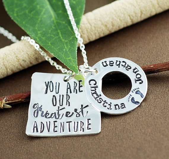 Baby Name Necklace, Birthdate Jewelry, You are our Greatest Adventure, Mothers Necklace, Personalized Mom Necklace, New Mom Necklace