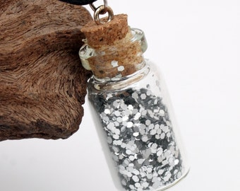 Metallic silver glitter glass vial pendant necklace- glass jar bottle with metallic glitter- cute gift for her