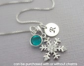 Personalized Snowflake Necklace, Sterling Silver Snowflake Necklace with Swarovski Channel Birthstone and Initial Charm, Bridesmaid Necklace