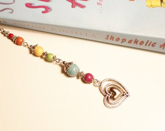 rainbow bookmark, LGBTQ bookmark, colourful Turquoise gemstone beads, Pride Parade, Lesbian, Gay, Bisexual, Transgender, Queer