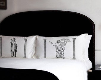 2 pillowcases set Zeus Aphrodite Roman Greek Gods pillow Antique venus love rome vintage retro UNIQUE bed Black room decor Standard case New
