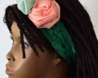 Girls Lace & Chiffon Headband - Girls Hair Acessories - Hair Bow - Headbands