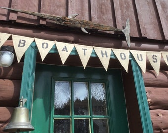 Custom Nautical BoatHouse Banner - Anchor, Shell, Crab, Sailboat, Dolphin and Seahorse Available