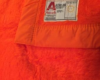 ORANGE SHAG BLANKET 1960s Never Used Acrilan Blanket Greece, Greek Shocking Vibrant Orange Shag Blanket at A Vintage Revolution