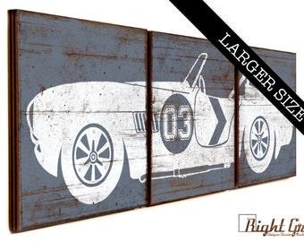 LARGE Vintage Race Car - Boys Room Decor - Baby Boy RaceCar Nursery Wall Art 16X48