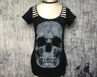 Halloween Skull Women's T-Shirt // Reconstructed T-Shirt // Size X-Small // Goth Horror Alternative Emo