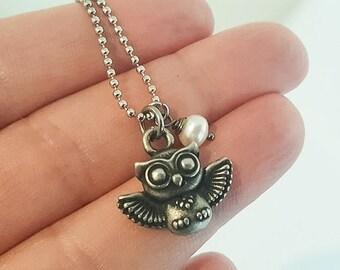 Little Hoot Owl Pearl Necklace Pendant