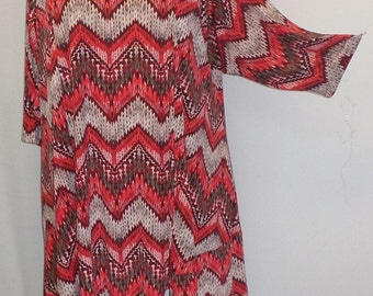 Plus Size Tunic, Coco and Juan,  Plus Size Tunic, Asymmetric,  Top, Rust Zig Zag, Print Traveler Knit, Size 1 (fits 1X,2X)   Bust 50 inches
