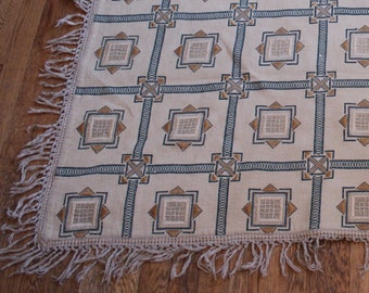 Vintage Tapestry Rug - Cross Stitch Irish Needlepoint Floor covering