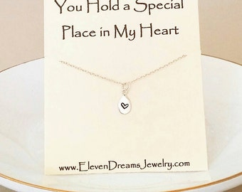 Silver Friendship Heart Charm Necklace w/ Meaning. You are special. Gift. Bridesmaid. Carded necklace. Special. Mother. Sister. Daughter