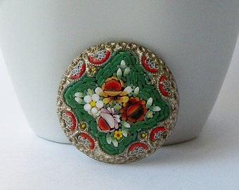 Vintage Micro Mosaic Glass Brooch by Mace