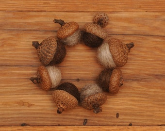 Felted Wool Acorns Natural colored or Acorn Ornaments, Set of 8