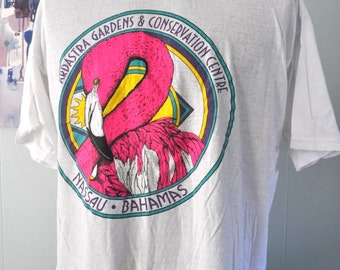 Vintage Bahamas TShirt Bright Flamingo Ardastra Gardens Nassau Super Soft n Thin Tee XL