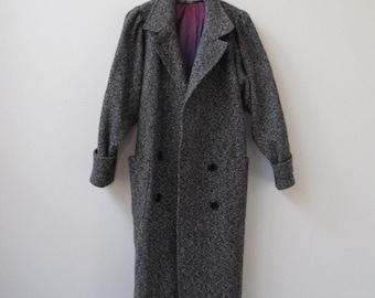 vintage 1980s long dark wool herringbone coat