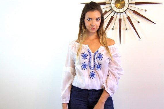 Vintage Peasant Blouse/ 70s Embroidered Gypsy Top/ White Sheer Folk Blouse/ Blue Floral Embroidered blouse/ 1970s Hippie Boho Stitched Shirt