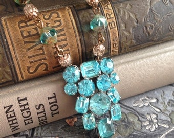 Vintage Turquoise Rhinestone Dress Clip and Czech Glass Beaded Necklace