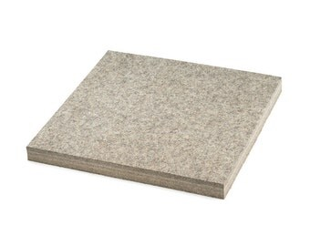 "High Density Industrial Wool Felt Square - Natural Gray, SAE F3 Grade, 12"" x 12"", 1/8"" to 1"" Thicknesses Available"