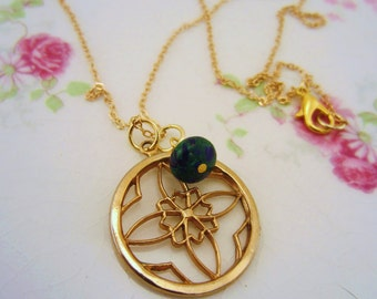 Flower mandala necklace. Gold charm necklace. Blue and green stone wire wrapped stone bead. Upcycled vintage charm. Yoga jewelry.