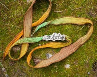 Wanderlust Silk Wrap Bracelet/ Inspirational Jewelry/ Travel Jewelry/ Festival Jewelry/ Boho Bracelet/ Handwritten