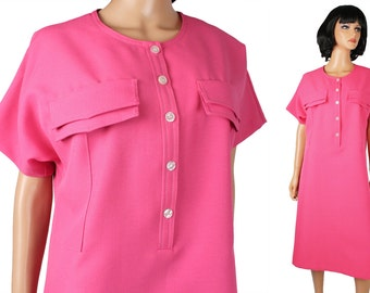 80s Secretary Dress XL Vintage Hot Pink Legally Blonde Costume Rich Miss Cute Free US Shipping