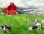 La grange rouge, gravures, vente, pays, Art mural, paysage, gravures, aquarelle Grange, peinture, ferme, paysage, vache estampes, WatercolorbyMuren
