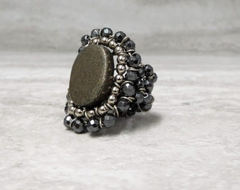 Large Stone Ring with Faceted Grey Hematite Pewter Pyrite & Silver Beads Wire Wrapped by Sharona Nissan (size US 6) last one