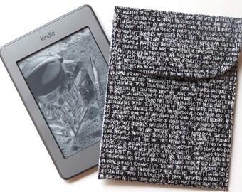 Tech Sleeve or Case for Kindle eReader, Black White Printing