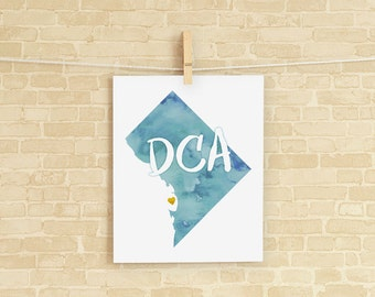 DC Love instant download printable wall art 8x10 - DCA, Washington DC Map