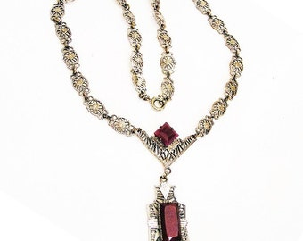 Carnelian Glass Silver Filigree Art Deco Pendant Necklace