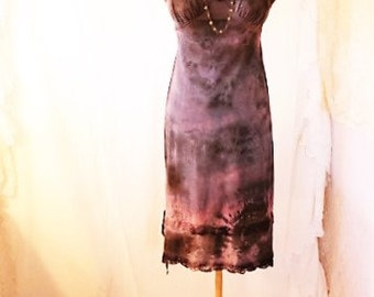 Small Upcyled Clothing/ Mystical Fairy Dress/Nymph Dress/Cinderella Bird Dress/Upcycled Dress/Upcycled fairy Dress/Repurposed slip/Purple