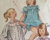 Vintage 1950s Simplicity Pattern 1828 For Girls Pajamas Set -  Size 10 - Bust 28