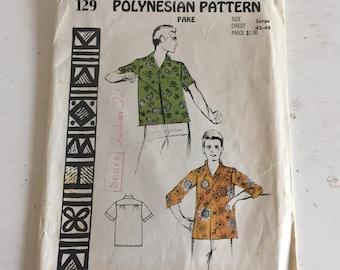 Vintage Mens Polynesian Pattern 129, 1950s Mens Sport Shirt And Swim Shorts Size XL