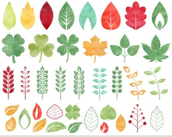 Leaves Clipart Watercolor Leaves Clip Art Autumn Leaves Clipart Vector Leaves Silhouette Doodle Leaf Clipart Invitations Scrapbooking Leaves