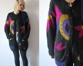 80s oversized cardigan. patterned long cardigan. knit wool cardigan - small, medium
