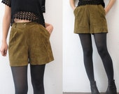 80s high waist suede shorts. khaki olive leather shorts - xs, small