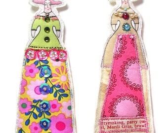Whimsical Handmade Embellished Long Dress Lady Ornaments Tiny Dolls Set Of Two Flat Fabric Art Doll Decorations