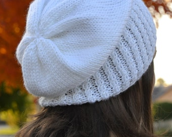 Knit Slouch Beanie Mock Cable Brim Hat, Hand Knit in WHITE (1295)