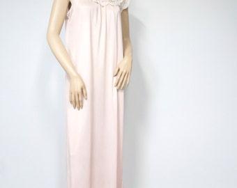 Vintage Pink Nightgown Lace Long Nightie Feminine Night Wear Size Small Size Medium