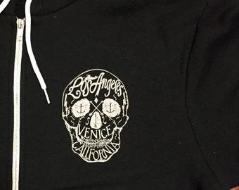 Los Angeles Venice, CA Skull Fleece Zipper Hoodie Sweatshirt Made in USA  Black Unisex   xs S M L  or  XL