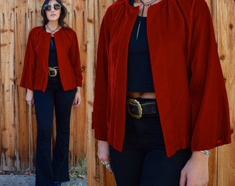Vintage 90s RED VELVET Duster Jacket Blouse