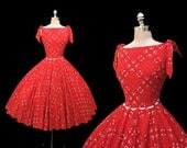 RESERVED for Deb Vintage 1950s Red Bandana Print Full Circle Skirt Pinup Cotton Party Dress M