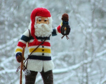 Christmas Needle Felted Hudson Bay Santa Claus or Father Christmas OOAK Soft Sculpture by McBride House