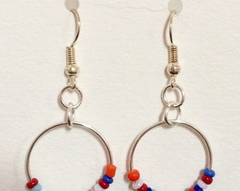 Chainmaille Silver-tone Drop Earrings with a Colorful Beaded Ring Detail