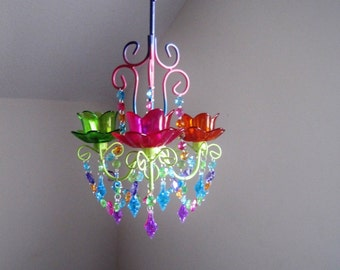 Gypsy Style 3 Candle Multi-Jewel Colored Chandelier MADE TO ORDER