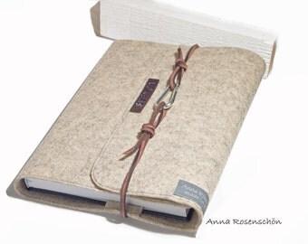 graue kalender h lle notizbuch h lle filz braunes lederband. Black Bedroom Furniture Sets. Home Design Ideas