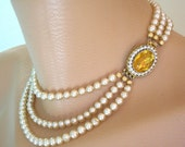 Pearl Choker, Pearl Necklace, Citrine, Great Gatsby Jewelry, Statement Necklace, Pearl Wedding Choker, Art Deco, Amber, Topaz, Vintage